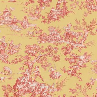 Brewster Red Vintage Toile Wallpaper