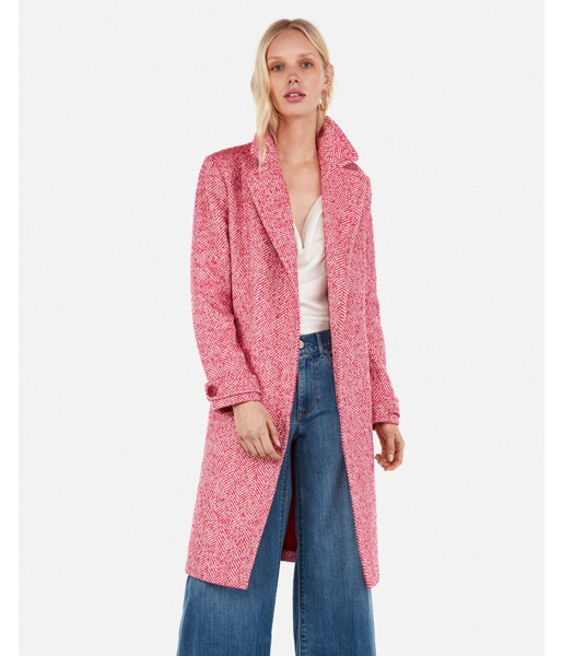 Wool-Blend Tie Front Coat Pink Women s XXS in 2019  746a5b703