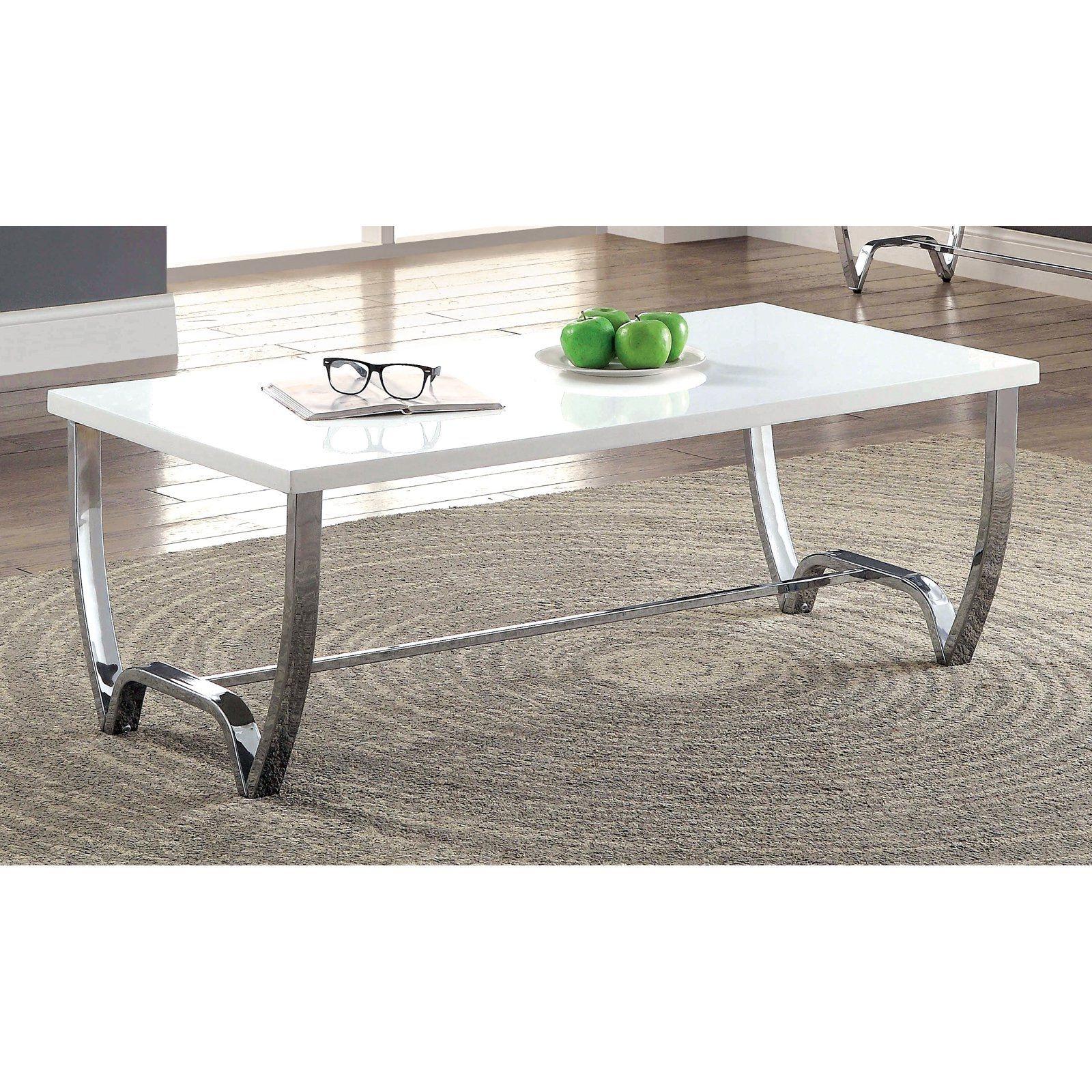 Furniture Of America Jaylin Contemporary Style Glass Top Coffee