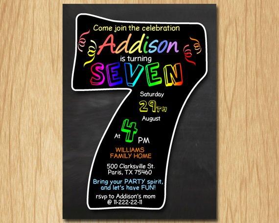 7th Birthday Invitation Chalkboard Invite Rainbow Colors Seventh