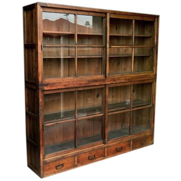 1850 S Japanese Glass Front Tansu Cabinet With Sliding Doors