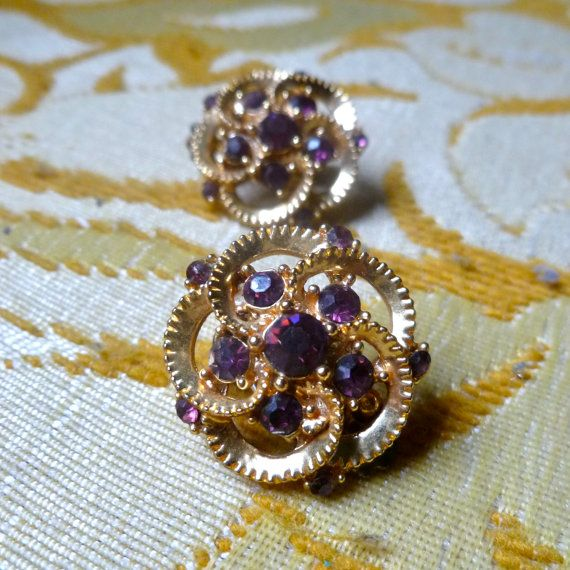 Vintage Gold & Purple Earrings Costume by SecretsOfTheUniverse, $8.00