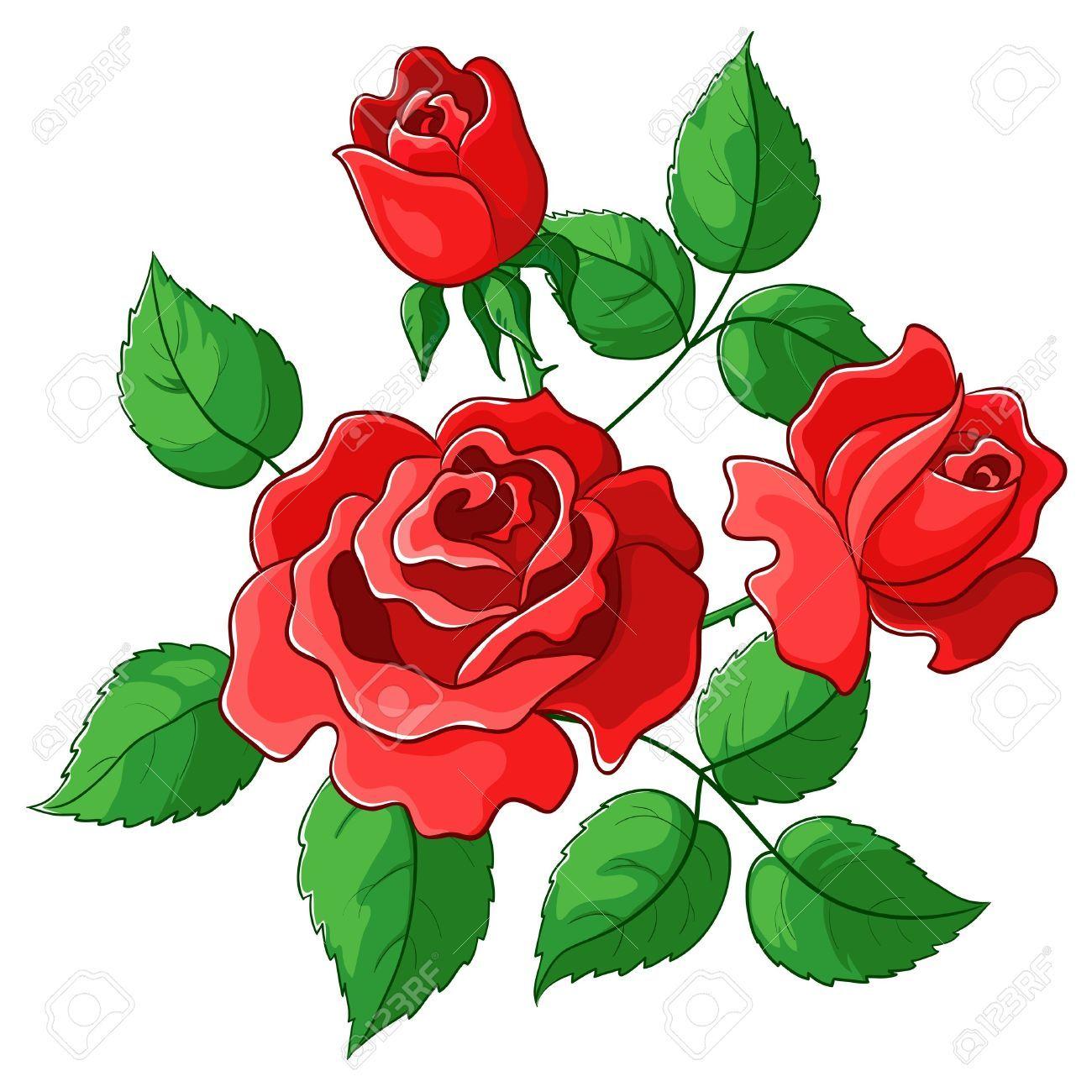 9310172flowersrosesvectorredbudsandgreenleaves