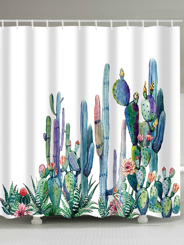 Cactus print mildewproof fabric bath shower curtain in home
