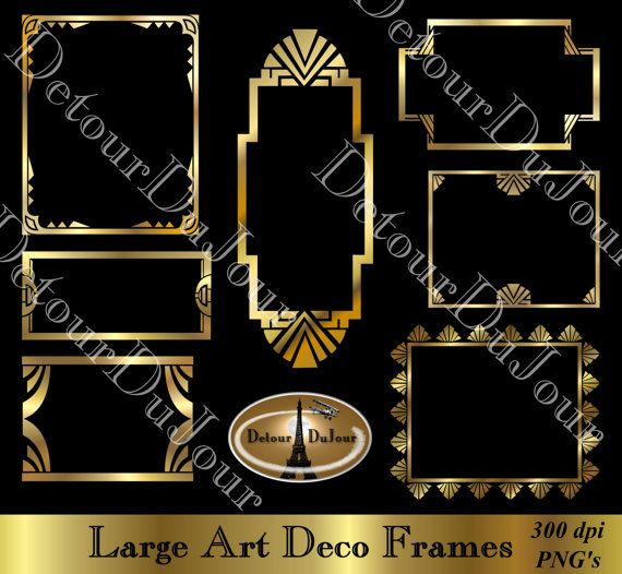 Art Deco Borders Digital Art Deco Frames Digital, Gold Metallic, Art ...