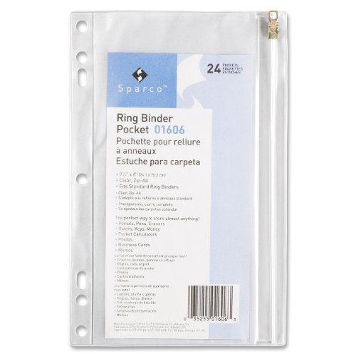 SPR01606 - Vinyl Ring Binder Pocket, 9-1/2x6, Clear Sparco http://www.amazon.com/dp/B001B0CPMO/ref=cm_sw_r_pi_dp_E8pFwb009R9AH