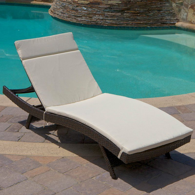 Outdoor Brown Wicker Adjustable Chaise Lounge - 216303   Products ...