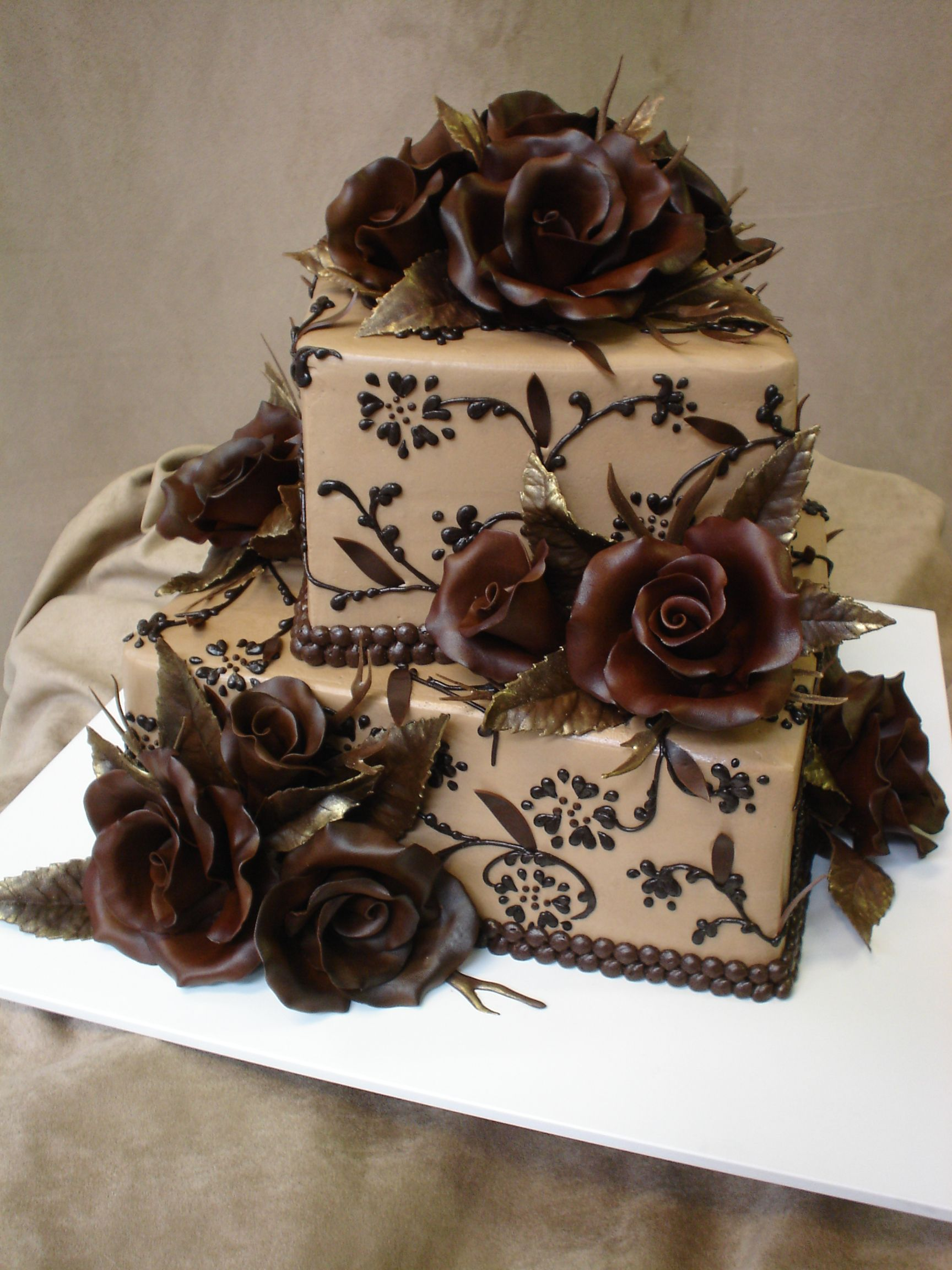 Chocolate Rose Cake With Gold Accents I Made For My Mom S