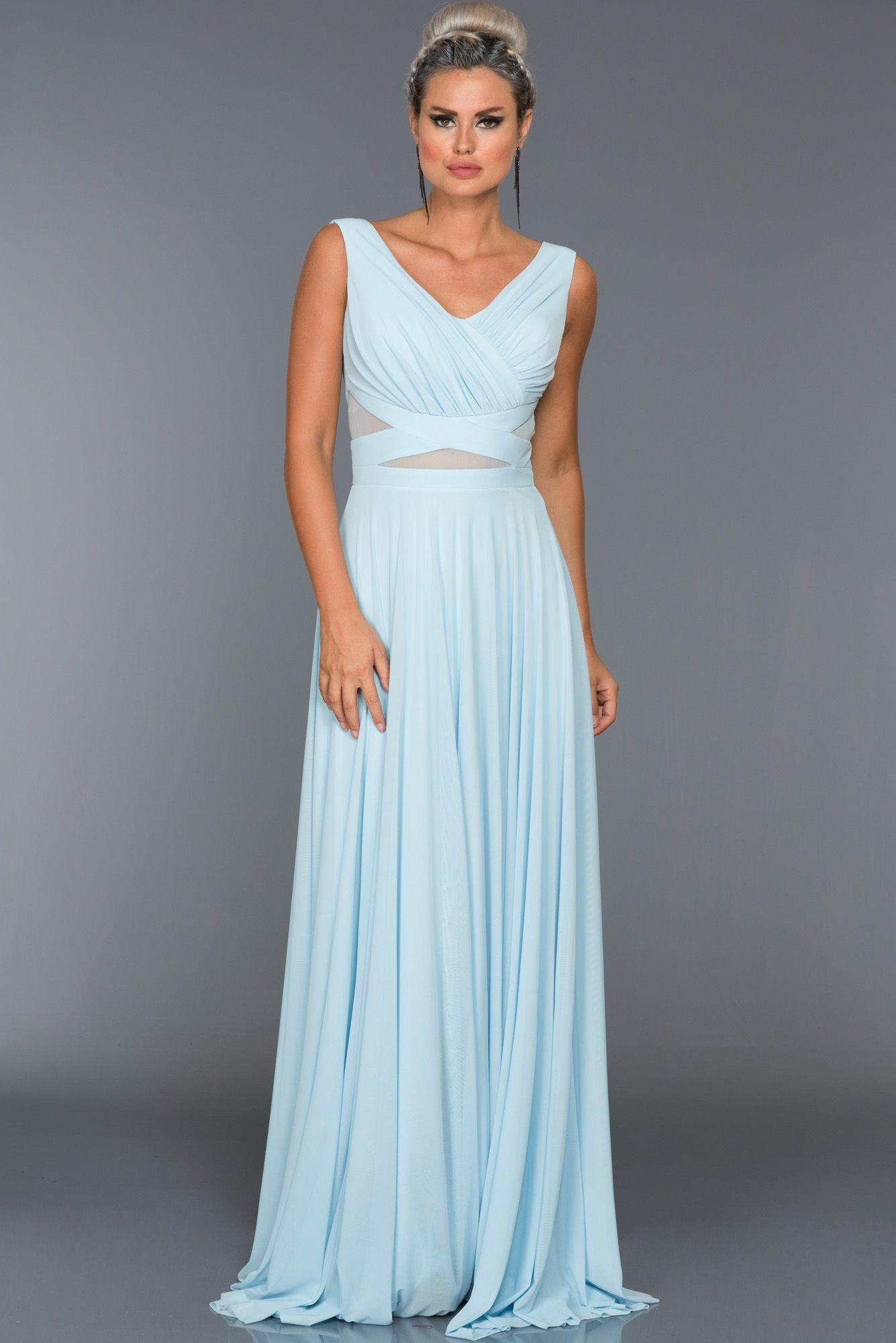 Buz Mavisi V Yaka Tullu Abiye Elbise Abu004 2020 Elbise Modelleri Elbise Balo Elbise Mezuniyet
