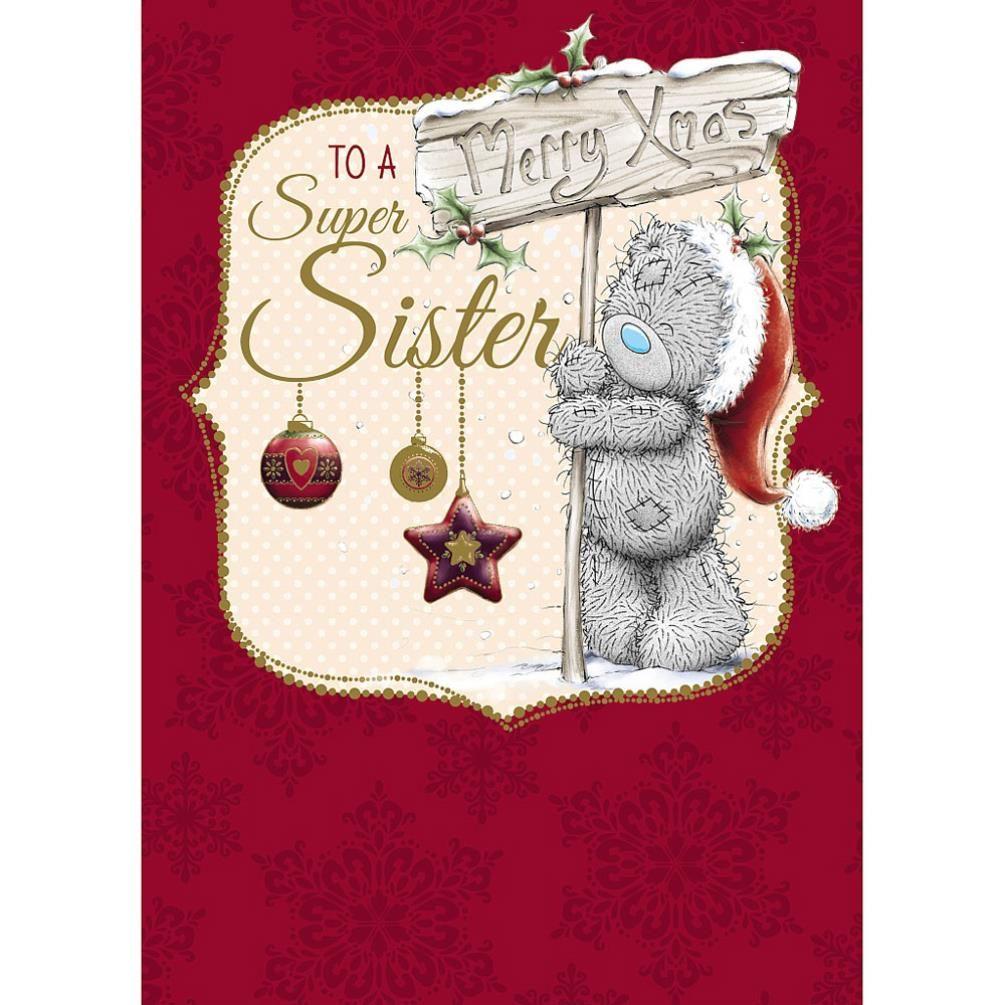 "9""x6"" 'Wonderful Sister' Me To You Christmas Card Tatty Teddy Bear Xmas"
