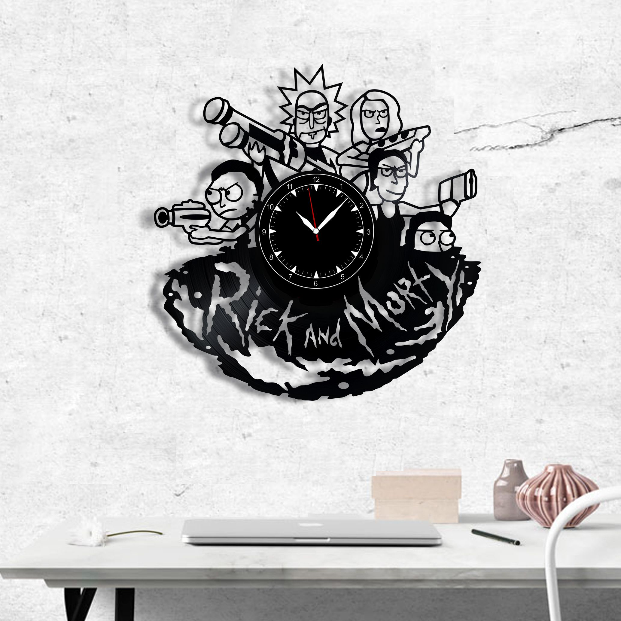 Rick Morty Vinyl Record art Wall Clock Handmade Original Gift Decor Home Unique Design