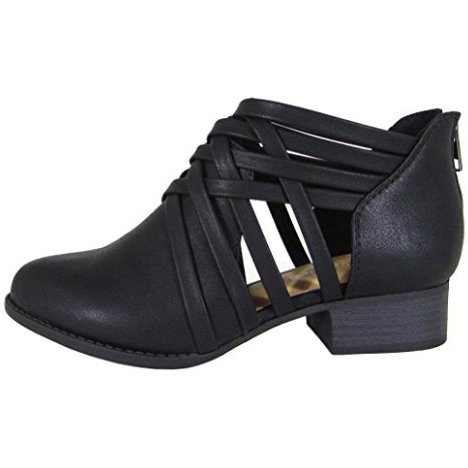 Women's Woven Strappy Cut Out Chunky Stacked Heel Ankle Bootie