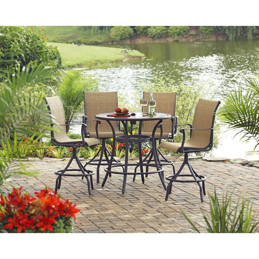Shop Allen + Roth Set Of 4 Safford Swivel Sling Cast Aluminum Patio Bar  Height