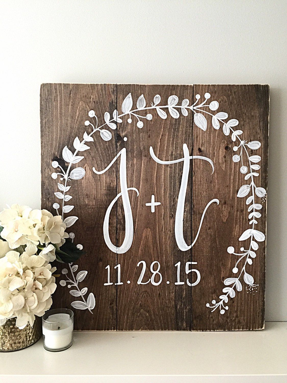 Wedding Decor Monogram Wedding Sign by SalvagedChicMarket #weddinggift