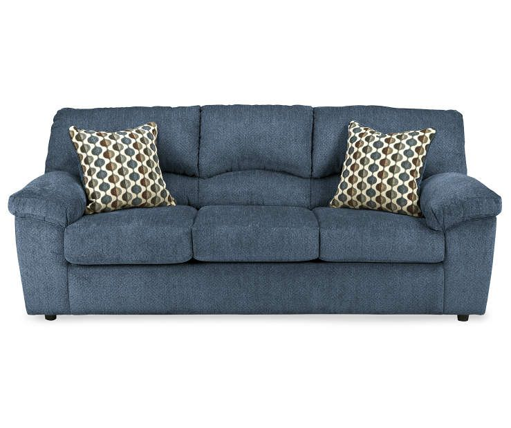Best Signature Design By Ashley Pindall Denim Blue Sofa With 400 x 300