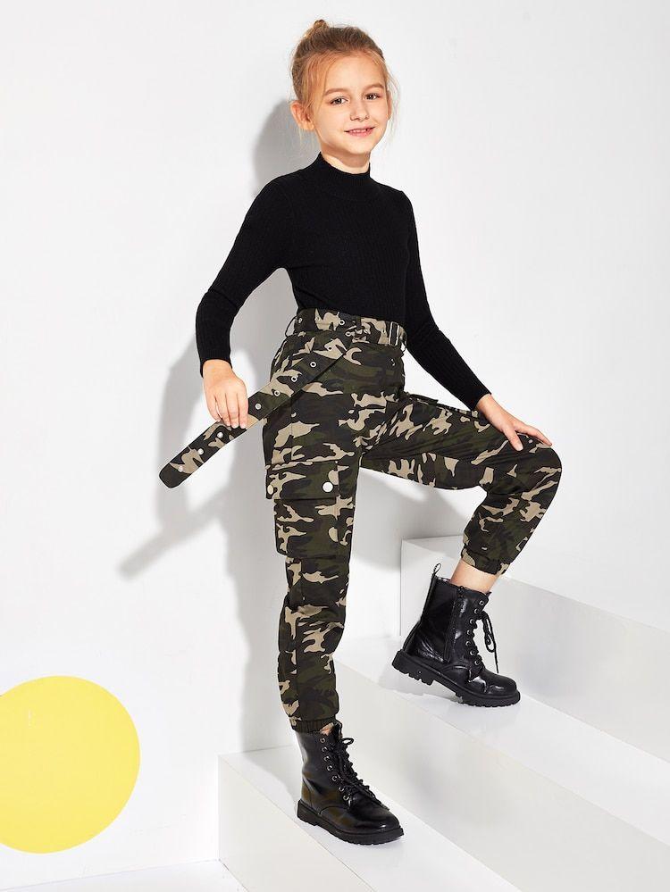 Pantalon Avec Imprime Camouflage Et Ceinture Ropa Tumblr Mujer Ropa Para Ninas Fashion Ropa De Baile Para Ninas