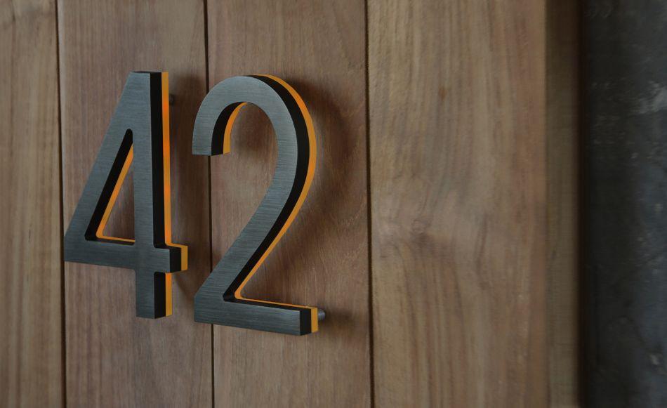Luxello Modern Bronze House Numbers Illuminated