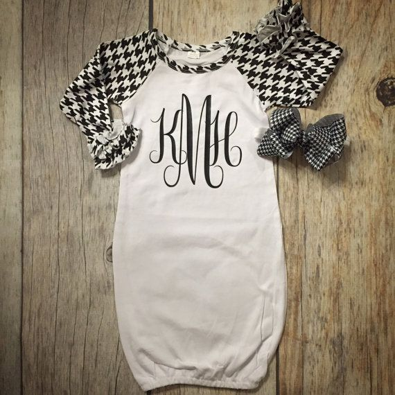 Houndstooth baby gown baby girl gown hospital by Rufflesnbuttons