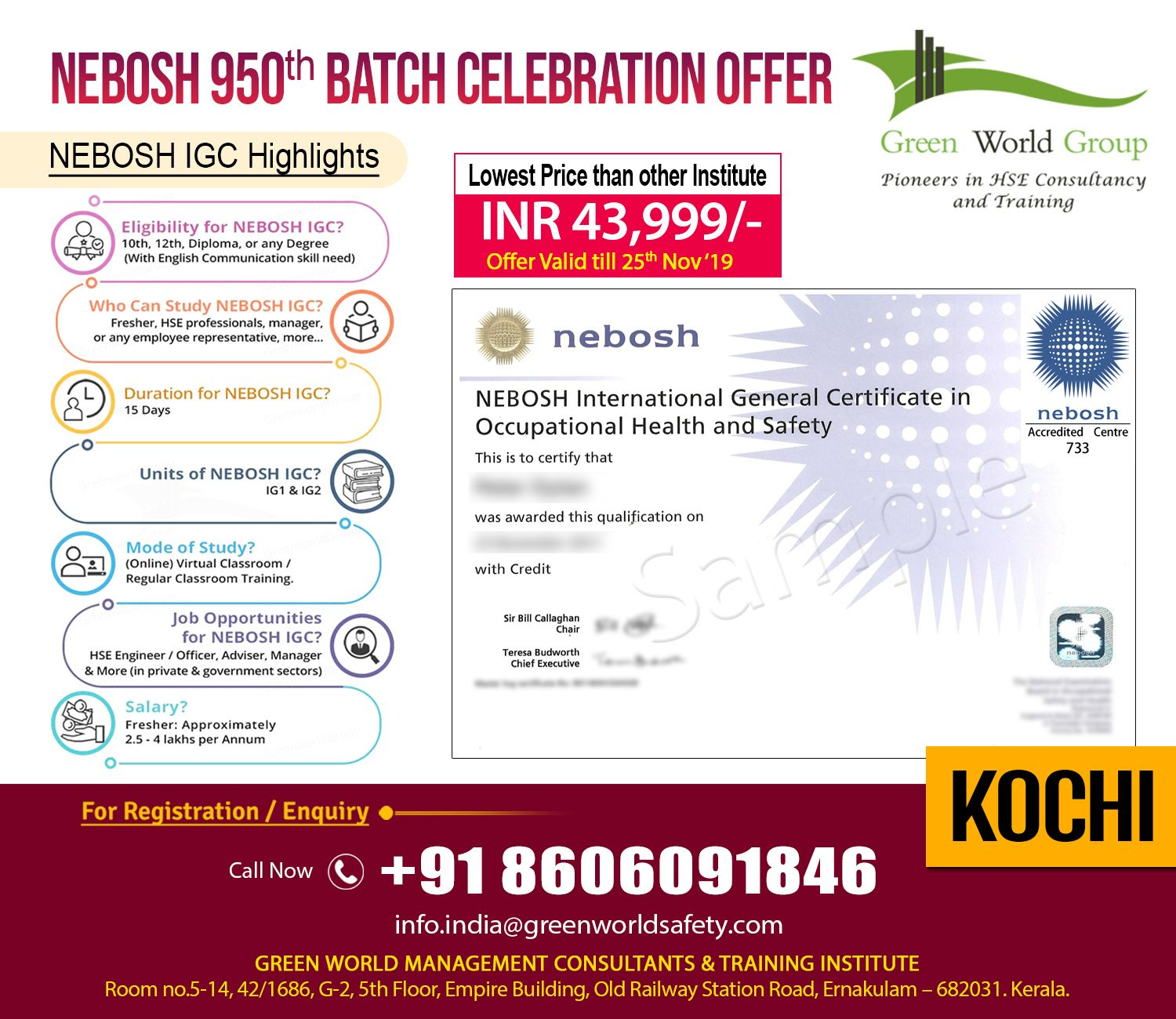 Exclusive Offer for Nebosh IGC Course Training in Cochin