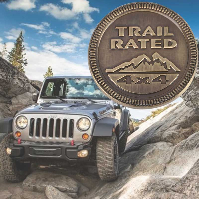 Metal Trail Rated 4x4 Logo Emblem Badge Sticker Decal For Jeep