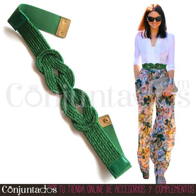 Cinturón-fajín Belte en verde con nudo entrelazado  98fe83feb3fb