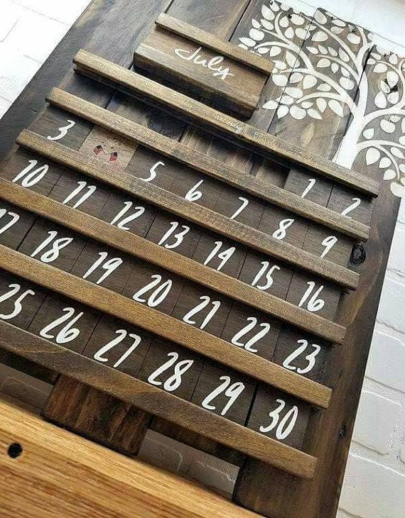 Wooden Calendar Perpetual Calendar Wood Calendar Rustic Wooden