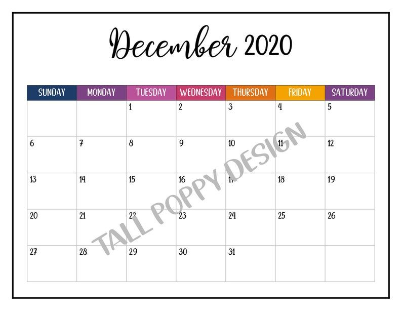 Printable 2020 Landscape Calendar 2020 Wall Calendar Crazy Colorful Fun Calendar Big Happy Pla Cool Calendars Happy Planner Calendar Pages