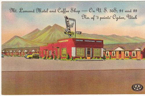 """I love this scene. The whole world is the Mt. Lomond hotel and Mt. Lomond itself.  I assume that mountain is supposed to be Mt. Lomond.   I'd always heard it called """"Mt. Ben Lomond"""", but I lived in the other end of town and we didn't know about stuff like that.  This postcard takes one pretty serious liberty - Mt. Lomond is northeast of the motel, and this view is close to due west.  The coffee shop / office building is still recognizable today, but that glorious sign has been replaced…"""