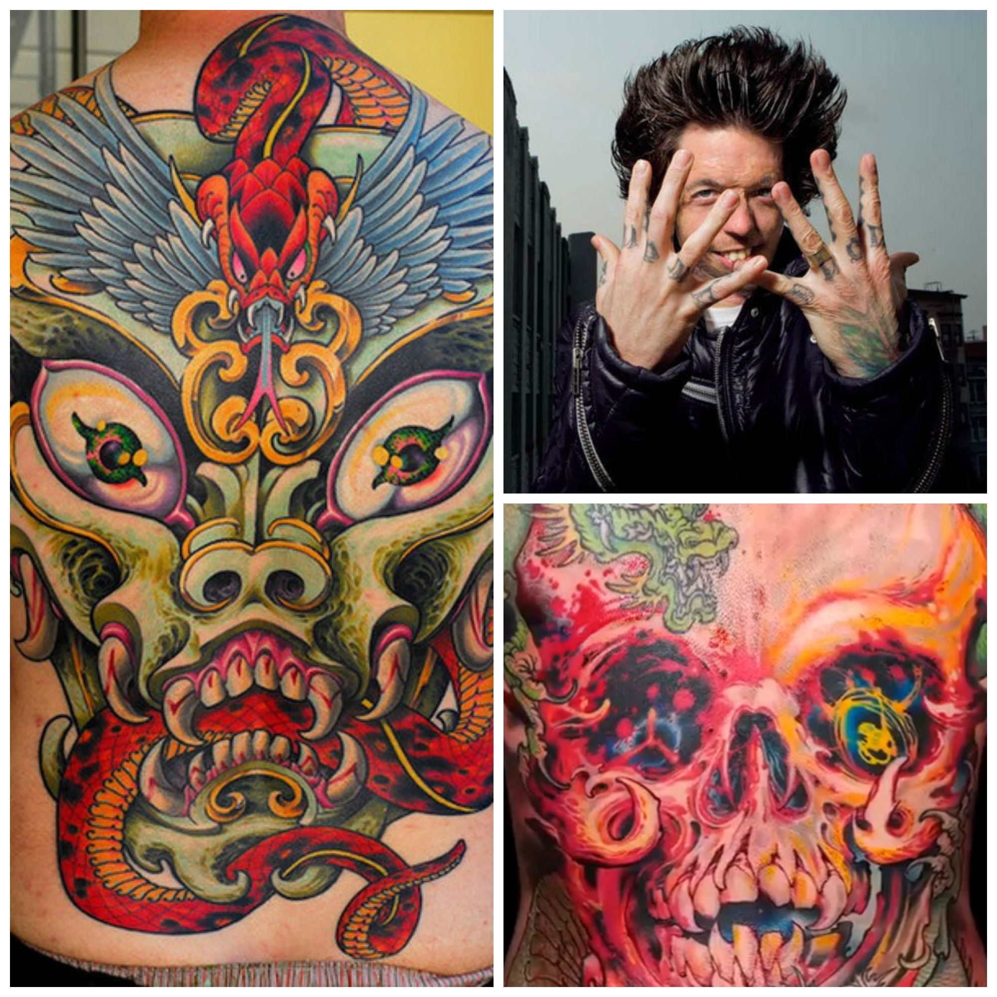 Grime tattoo collage skull bright colors snakes flowers tattoo