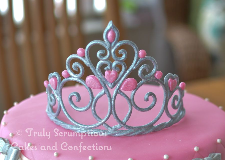 Gumpaste Tiara Sprayed With Silver Spray And Then White