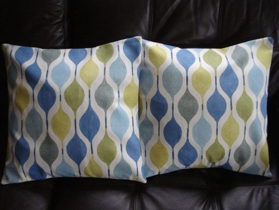 Decorative Pillows Teal Blue Green Yellow Geometric Shapes