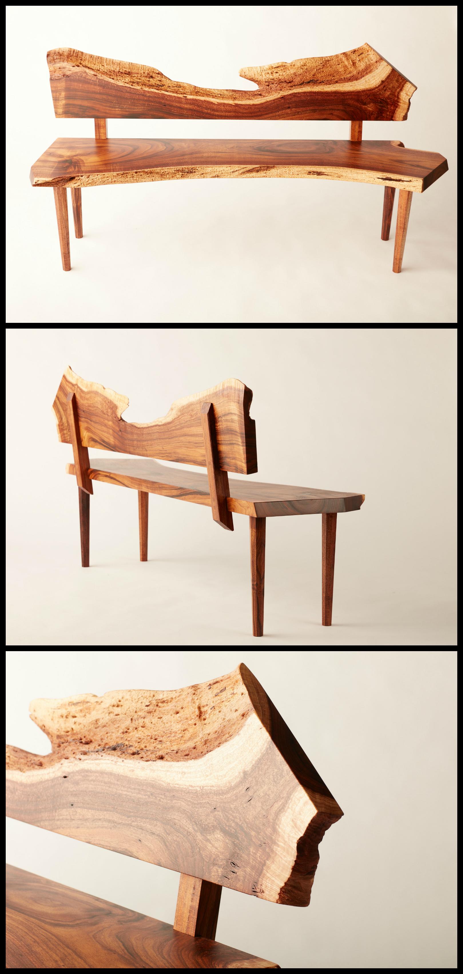 Live edge Black Acacia bench AKA California Koa. Custom joinery ...