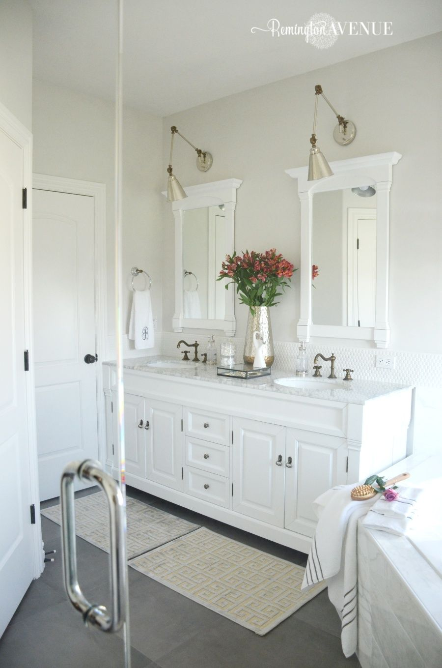 White Master Bathrooms one room challenge: bright white master bathroom final reveal