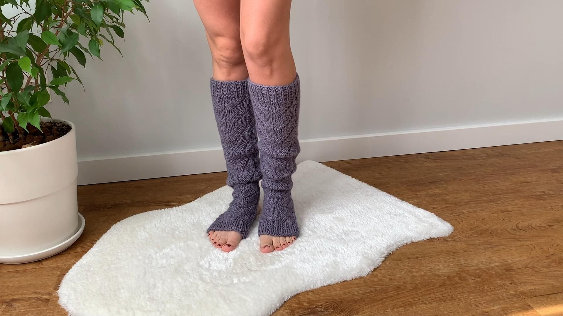 Yoga leg warmers Knitting Pattern Knitted socks Flip flop socks Thigh high socks