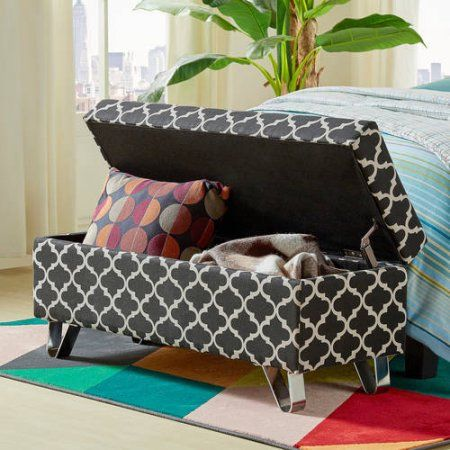 Chelsea Lane Veleria Fabric Bench, Multiple Colors, Black