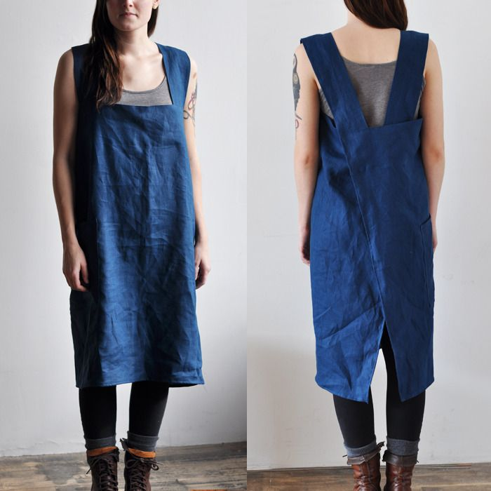 bookhou smock apron in blue