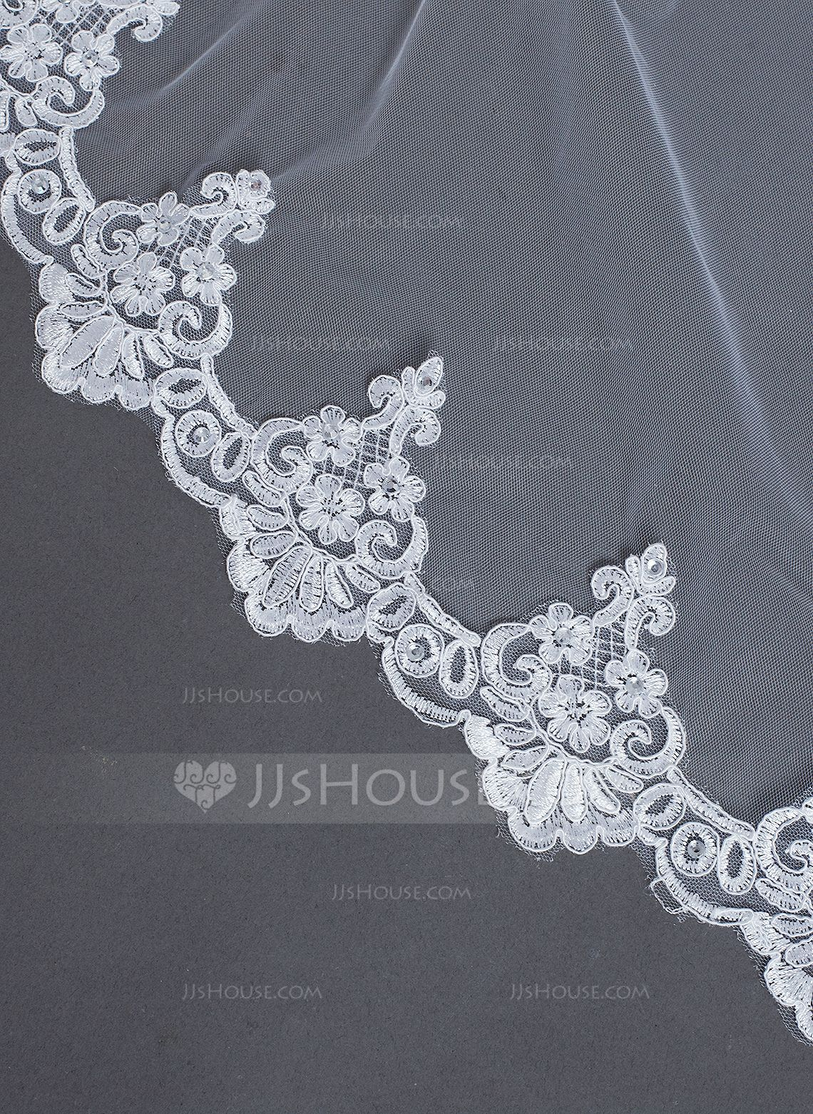 One-tier Cathedral Bridal Veils With Lace Applique Edge (006031066) - JJsHouse