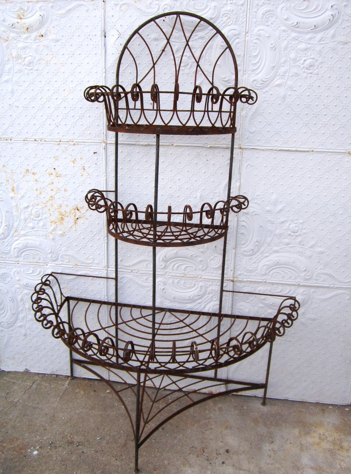 Metal Hanging Plant Stand Part - 22: Vintage Mid Century Shabby Chic White Chippy Metal Wire Hanging Plant Stand  50s | Shabby Chic White, Hanging Plant And Plants