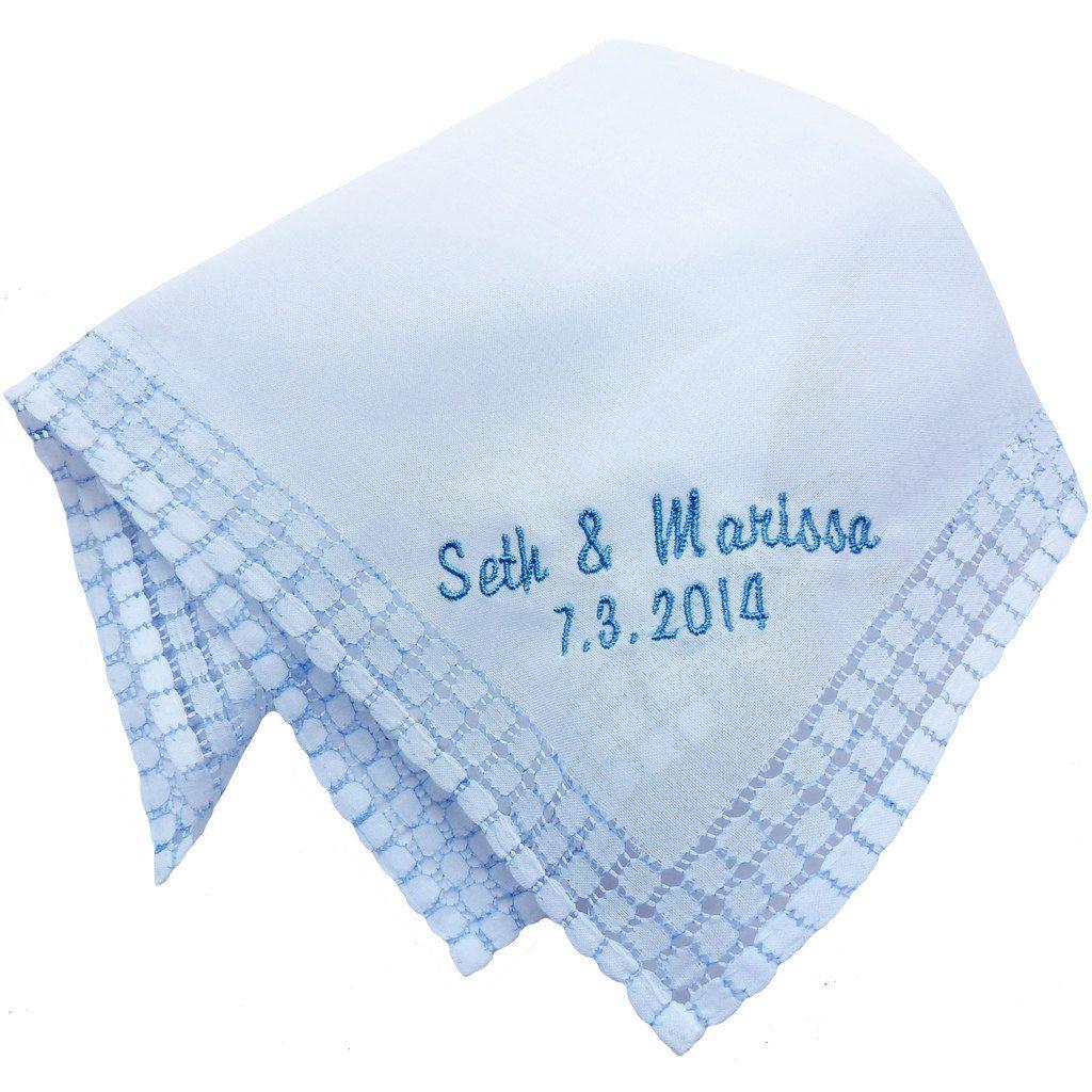 Custom Embroidered Personalized Blue Windowpane Edged Hankie with Monogram