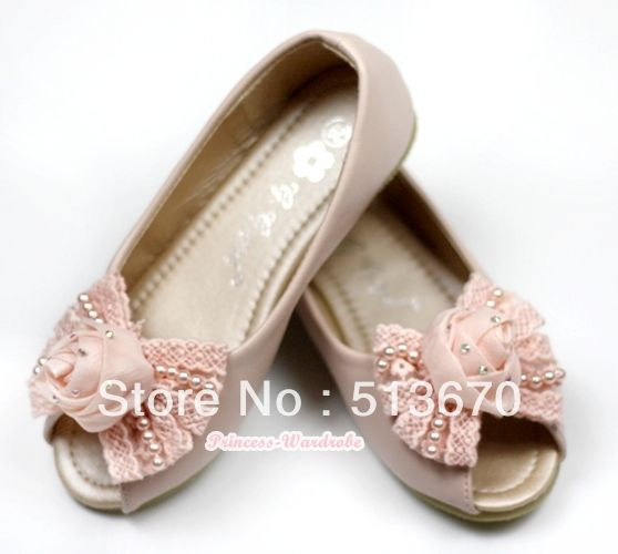 Light Pink Rose Pearl Bow Open Toe Shoes MA138-15Pink US $26.99