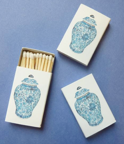 Blue and white ginger jar matches. Fun idea for a party favor or decorative note in a room. Via Design Darling