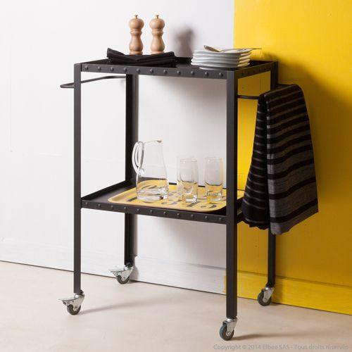 desserte en m tal 2 plateaux sur roulettes decoclico factory noire factory pinterest. Black Bedroom Furniture Sets. Home Design Ideas