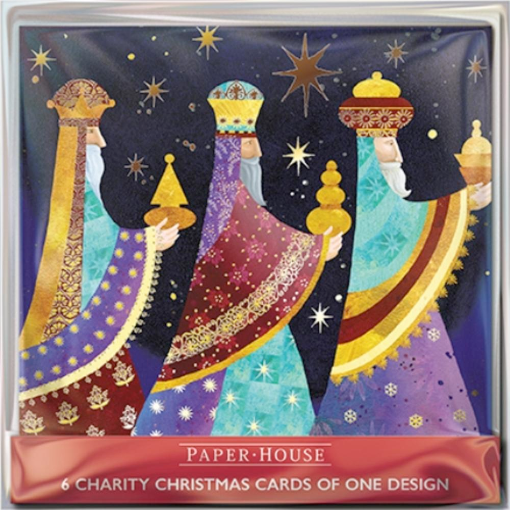 Pack of 6 Three Wise Men Charity Christmas Cards Supports