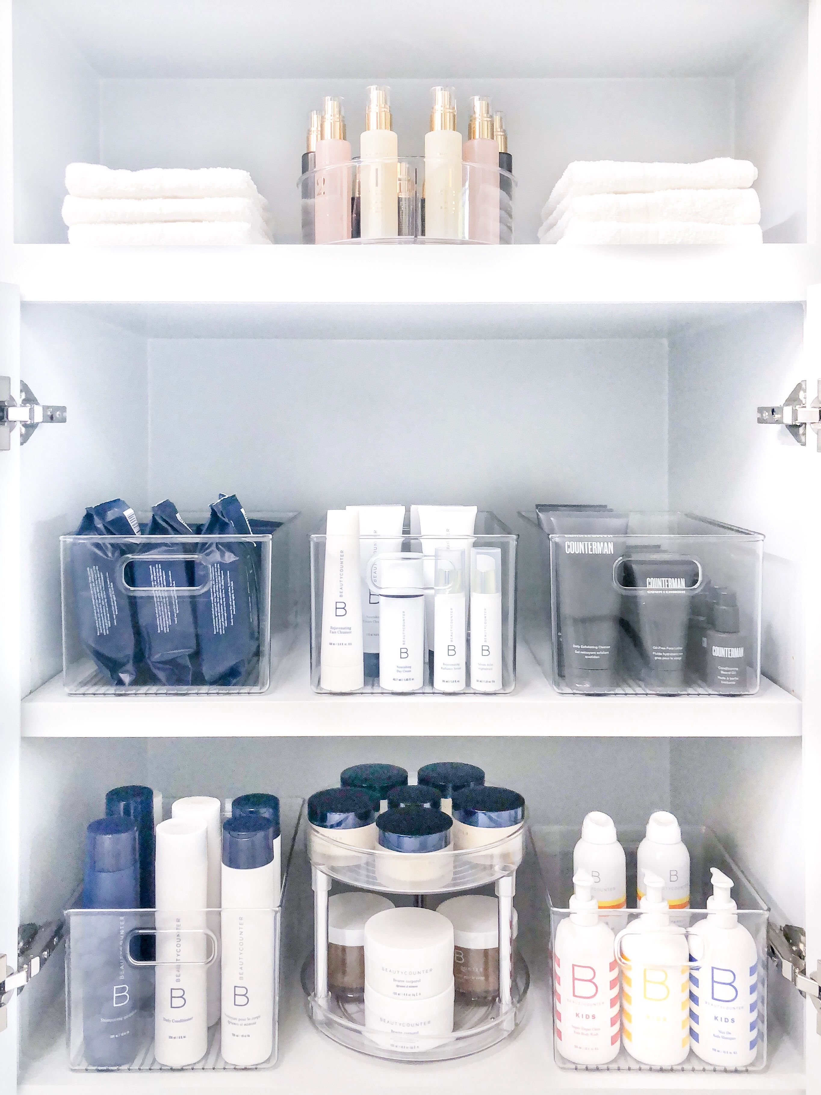 Beautycounter Bathroom Makeover Bathroom Organisation Bathroom Cabinet Organization Bathroom Storage Organization