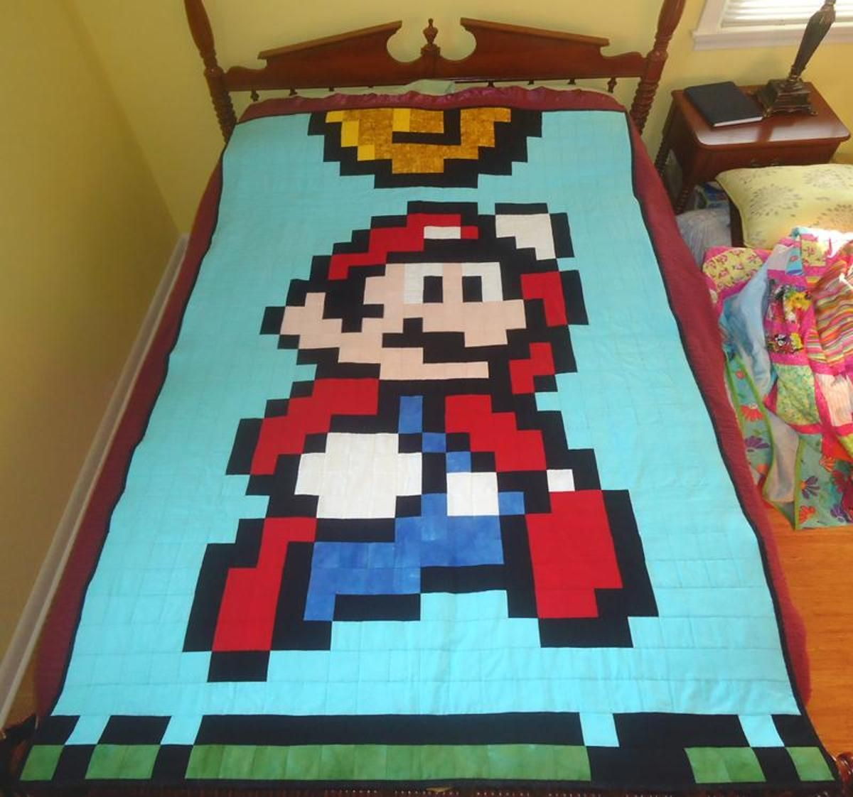 8 Bit Mario Quilt Craftsy Mario Quilt Pattern Mario Quilt Pixel Quilting