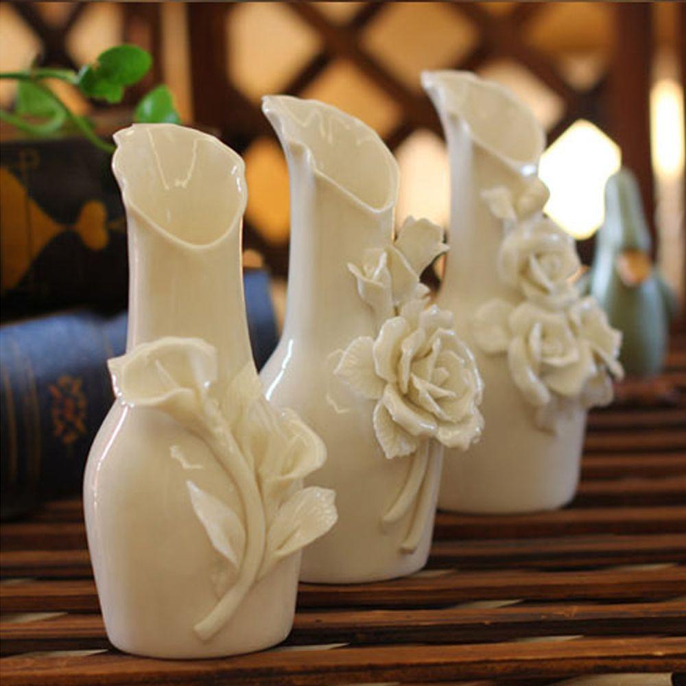 Hot Sell Handmade 3pcs Decorative Ceramic Art Vase Engraved