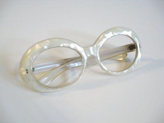 60s Vintage MOD PEARL Oval Frame Eye Glasses by wildatheartvintage, $60.00