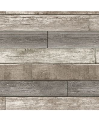 Reclaimed Wood Plank Natural Peel And Stick Wallpaper Brown Wood Planks