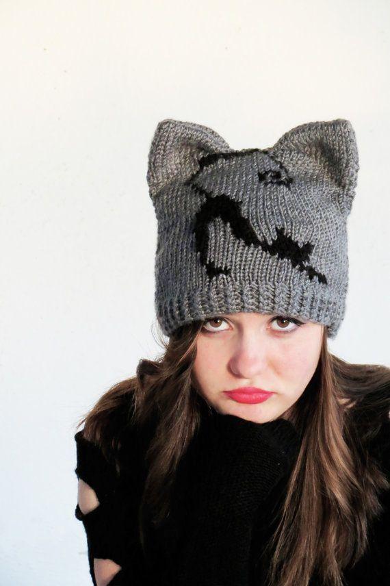 dd9069f0c79 Knit Cat Ear Hat Cat Ear Beanie Gray Cat Hats by EmofoFashion