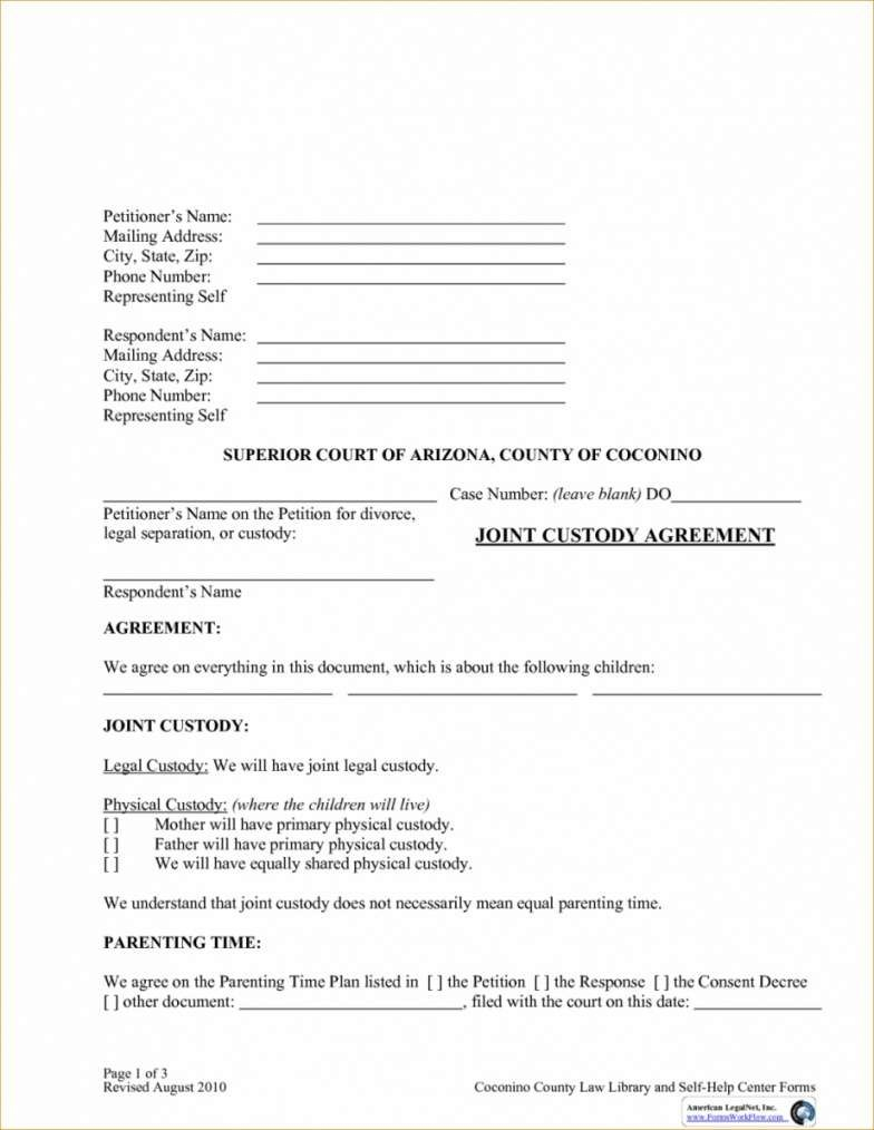 Joint Custody Agreement Forms Kentucky With Joint Custody Agreement Template 10 Professional Templates Ideas 10 P Custody Agreement Joint Custody Custody